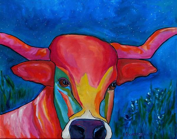 Painting - Starry Night Longhorn by Patti Schermerhorn