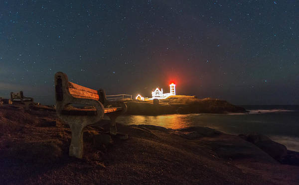 Photograph - Starry Skies Over Nubble Lighthouse  by Bryan Xavier