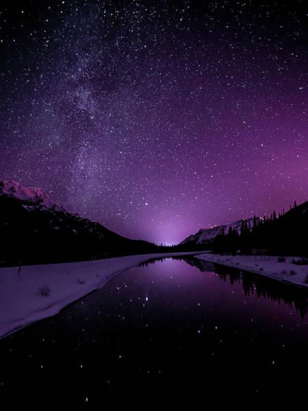 Photograph - Starry Sky Illuminates Mountain by Ascentxmedia