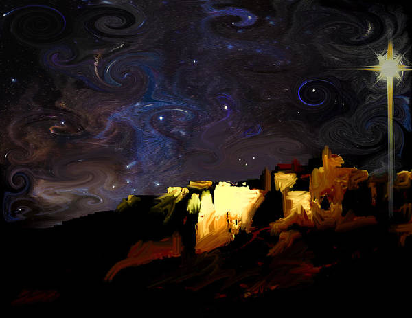 Starry Starry Bethlehem Night Art Print by Ron Cantrell