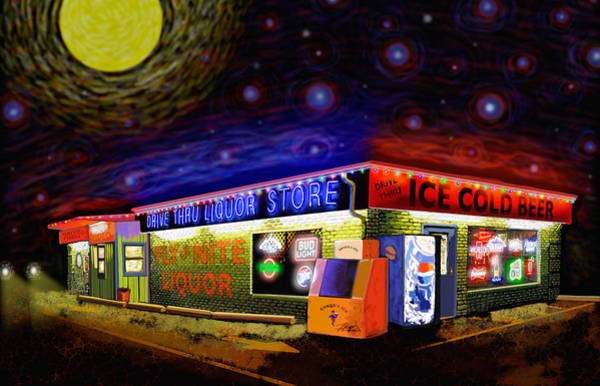 Photograph - Starry Starry Fly By Nite Drive Thru Liquor Store by Robert FERD Frank