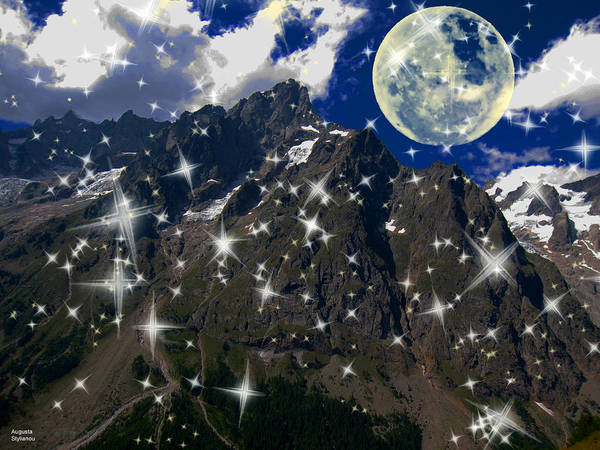 Planets And Moons Digital Art - Stars And Moon On Alps by Augusta Stylianou