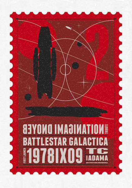 Nasa Wall Art - Digital Art - Starschips 02-poststamp - Battlestar Galactica by Chungkong Art