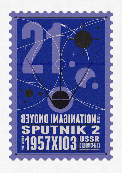Digital Art - Starschips 21- Poststamp - Sputnik 2 by Chungkong Art