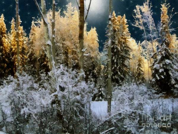 Painting - Starshine On A Snowy Wood by RC DeWinter