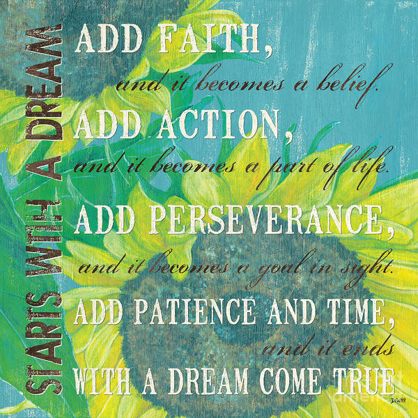 Motivational Painting - Starts With A Dream by Debbie DeWitt