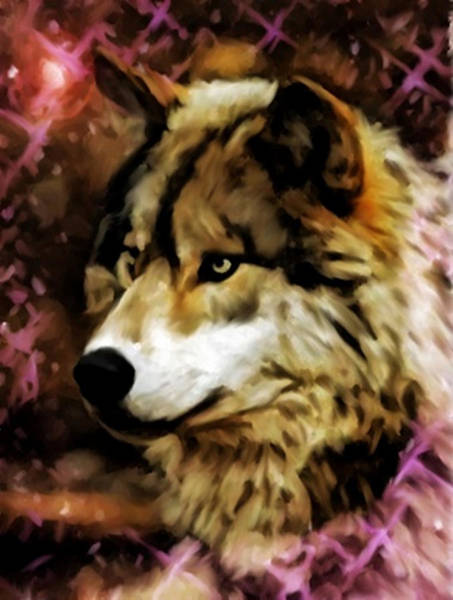 Painting - Stary Night Wolf by Dennis Buckman