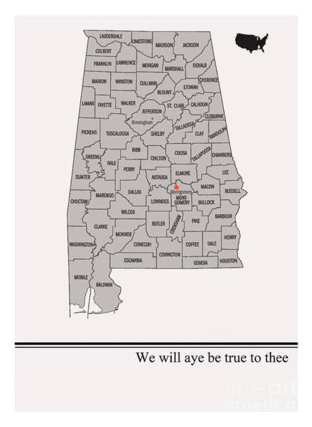 State Of Alabama Painting - State Arts- Alabama by Trilby Cole