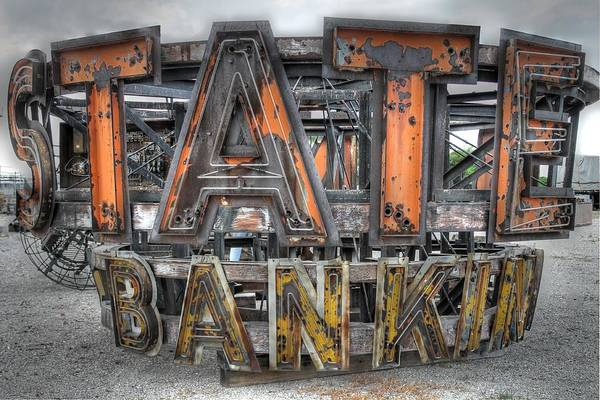 Vintage Neon Sign Photograph - State Bank Sign by Jane Linders
