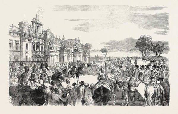 Wall Art - Drawing - State Opening Of The Great Exhibition, Her Majesty Leaving by English School
