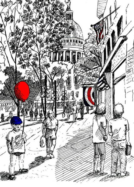 Drawing - State Street Market by Marilyn Smith