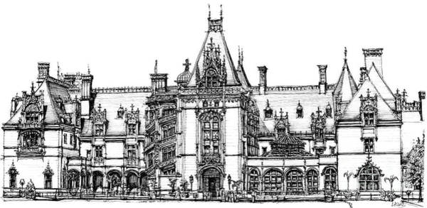 Antlers Drawing - Stately Home In Ink by Adendorff Design