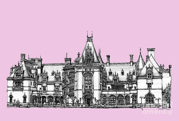 Graphics Drawing - Stately Home In Pink by Building  Art