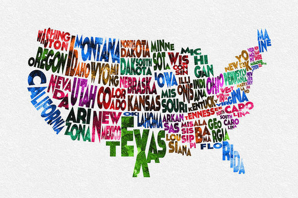Wall Art - Painting - States Of United States Typographic Map by Inspirowl Design