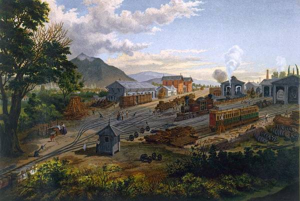 Locomotive Drawing - Station At Orizaba, 1878 by Casimior Castro