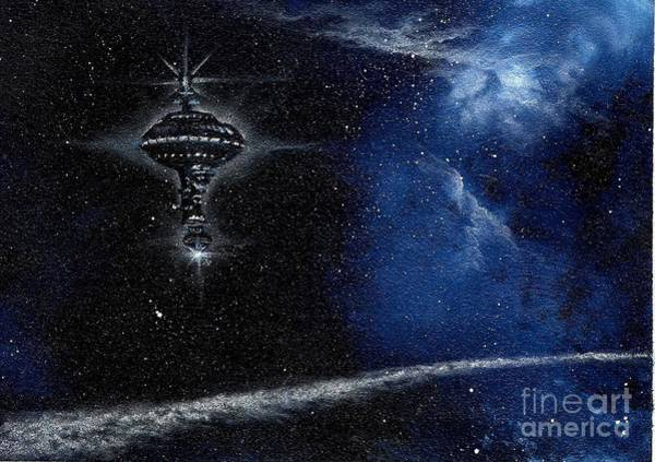 Wall Art - Painting - Station In The Stars by Murphy Elliott