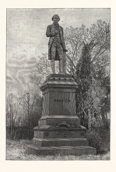 Early American History Drawing - Statue Alexander Hamilton, Central Park by American School