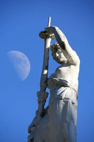 Photograph - Statue And Moon by Pat Moore