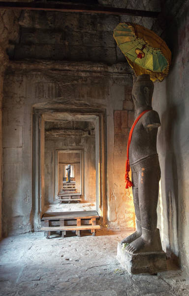 Statue Photograph - Statue, Angkor Wat, Cambodia by John Harper