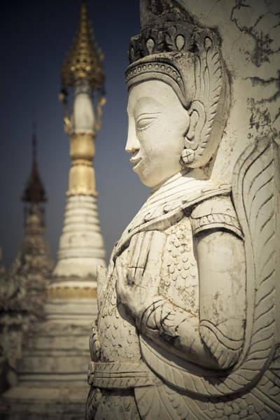 Photograph - Statue At Pagoda  by Maria Heyens