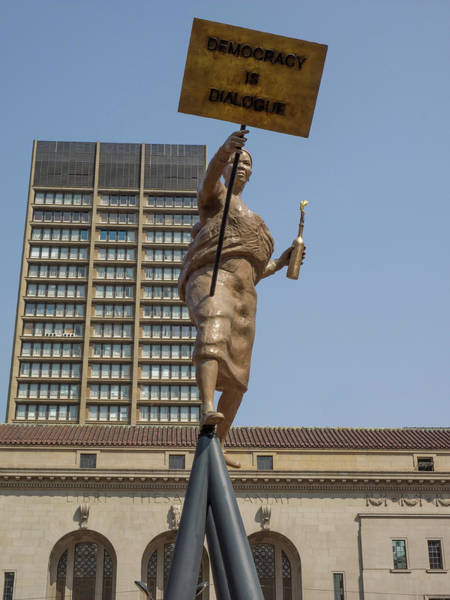 Johannesburg Wall Art - Photograph - Statue In Front Of Johannesburg City by Panoramic Images