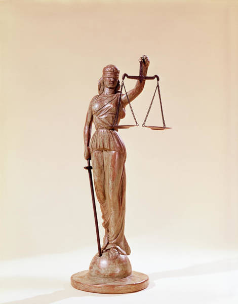 Wall Art - Photograph - Statue Of Blindfolded Lady Justice by Vintage Images