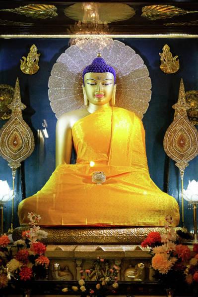 Statue Photograph - Statue Of Buddha Shakyamuni Mahabodhi by Photo By Jamyang Zangpo
