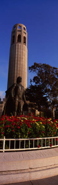 Coit Tower Photograph - Statue Of Christopher Columbus In Front by Panoramic Images