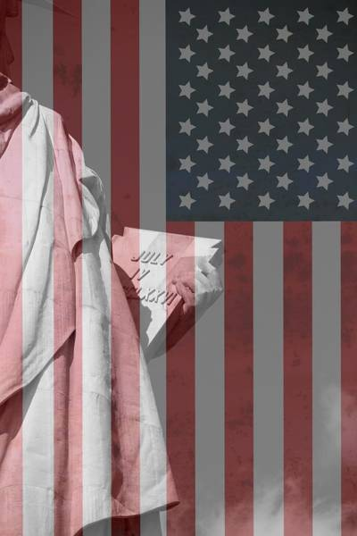 Photograph - Statue Of Liberty And American Flag by Dan Sproul