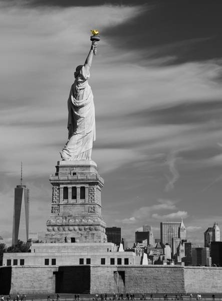 Photograph - Statue Of Liberty And The Freedom Tower by Dan Sproul
