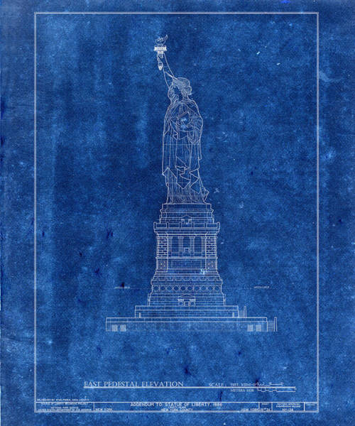 Photograph - Statue Of Liberty Blueprint 3 by Andrew Fare