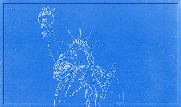 Painting - Statue Of Liberty Blueprint by Celestial Images