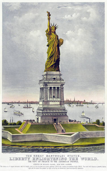 Currier And Ives Painting - Statue Of Liberty by Celestial Images