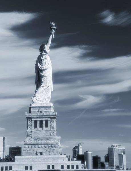 Photograph - Statue Of Liberty Facing New York City by Dan Sproul