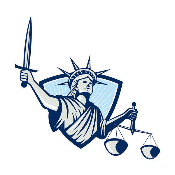 Justice Digital Art - Statue Of Liberty Holding Scales Justice Sword by Aloysius Patrimonio