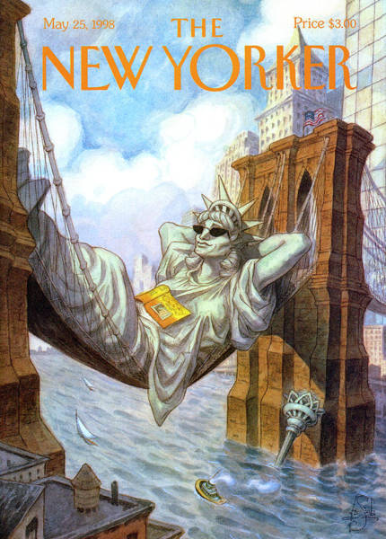 1998 Painting - Statue Of Liberty Lounges Between The Brooklyn by Peter de Seve