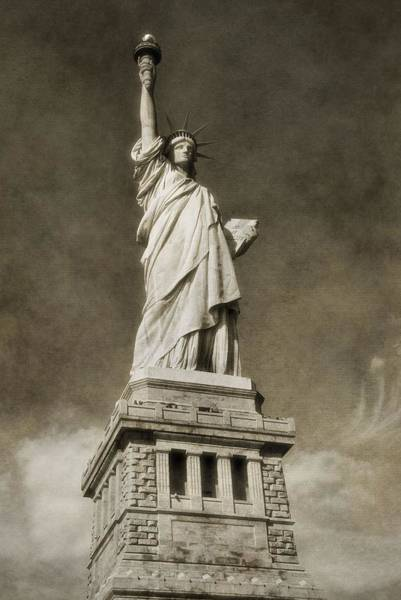 Battery D Wall Art - Photograph - Statue Of Liberty Sepia by Dan Sproul