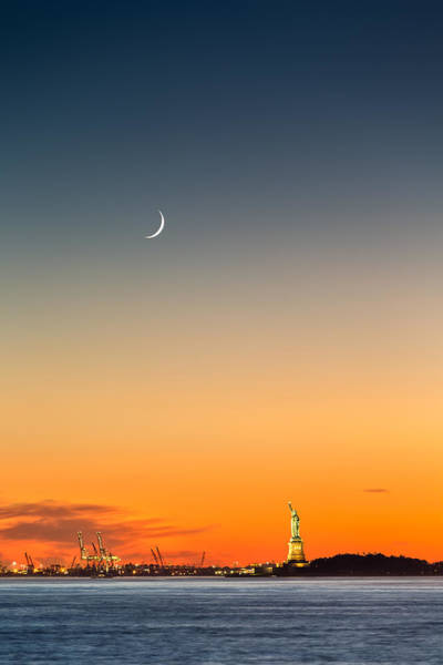 Photograph - Statue Of Liberty Under A Crescent Moon by Mihai Andritoiu