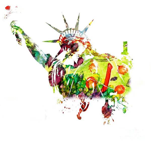 Painting - Statue Of Liberty - Watercolor by Doc Braham