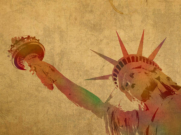 Statue Mixed Media - Statue Of Liberty Watercolor Portrait No 3 by Design Turnpike