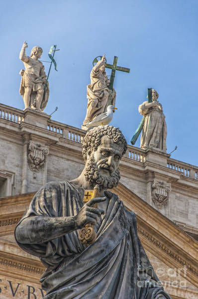 Saint Peters Square Photograph - Statue Of Saint Peter by Antony McAulay