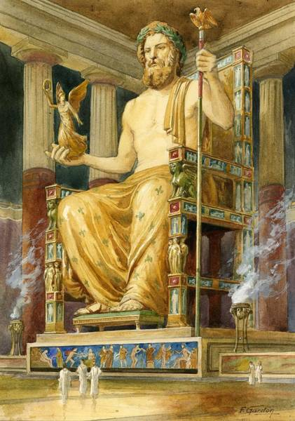 Wall Art - Drawing - Statue Of Zeus At Oympia by English School