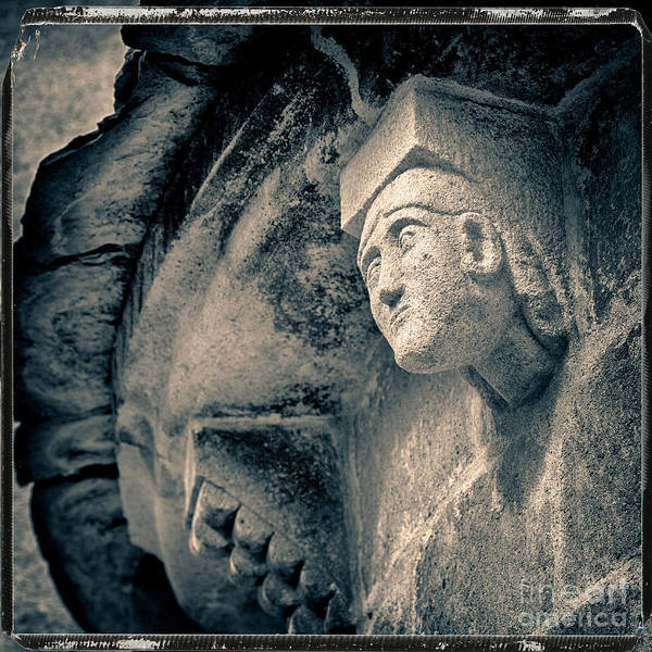 Wall Art - Photograph - Statue On A Romanesque Church In Auvergne by Bernard Jaubert
