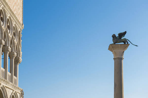 Lion Of St Mark Photograph - Statue On Top Of A Column Monument by Mats Silvan