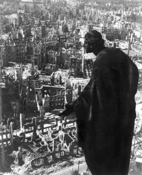 Aerial Combat Photograph - Statue Overlooking Dresden, Germany by Everett