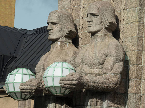 Finnish Photograph - Statues At Helsinki Central Railway by Panoramic Images