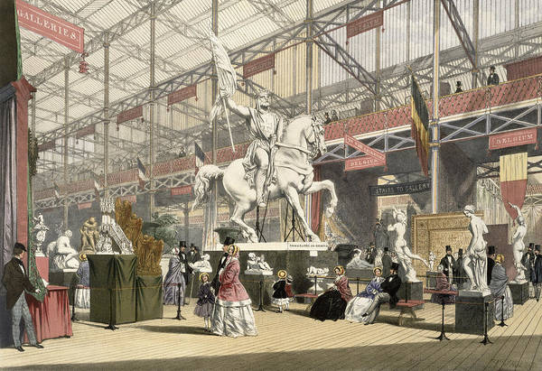 Palace Drawing - Statues In The Belgium Section by English School