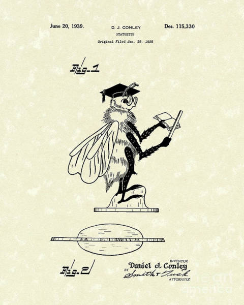 Drawing - Statuette 1939 Patent Art by Prior Art Design
