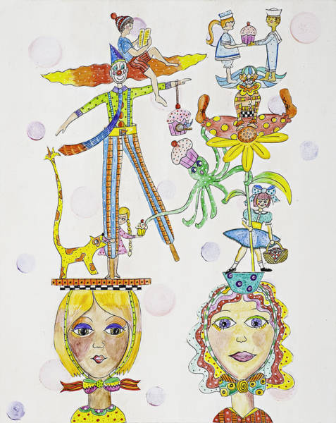 Circus Clown Painting - Steal My Cupcake by Lynn Colwell