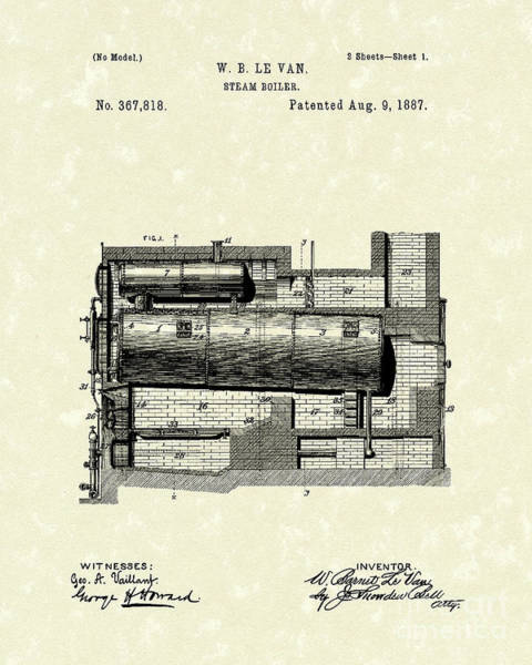 Drawing - Steam Boiler 1887 Patent Art by Prior Art Design